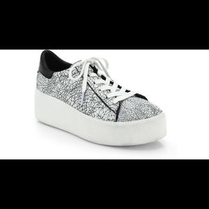Ash White Cult Crackled Leather Platform Sneakers